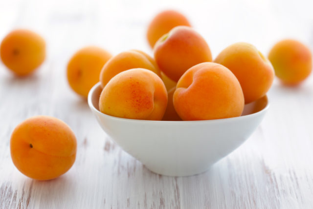 fresh apricots in the bowl